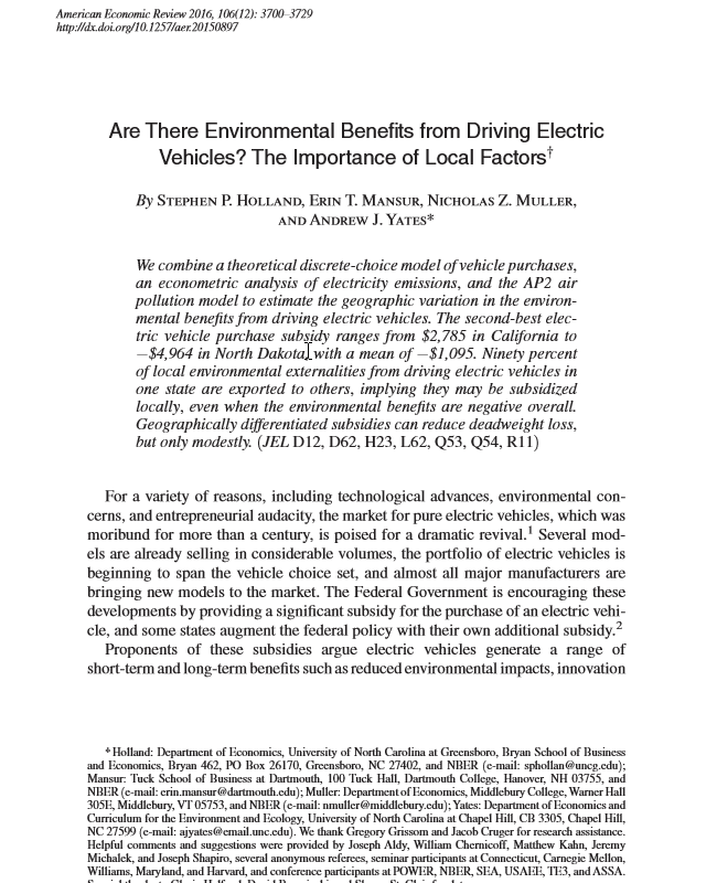 And The Ap2 Air Pollution Model To Estimate Geographic Variation In Environmental Benefits From Driving Electric Vehicles