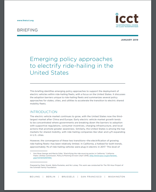 Emerging policy approaches to electrify ride-hailing in the United