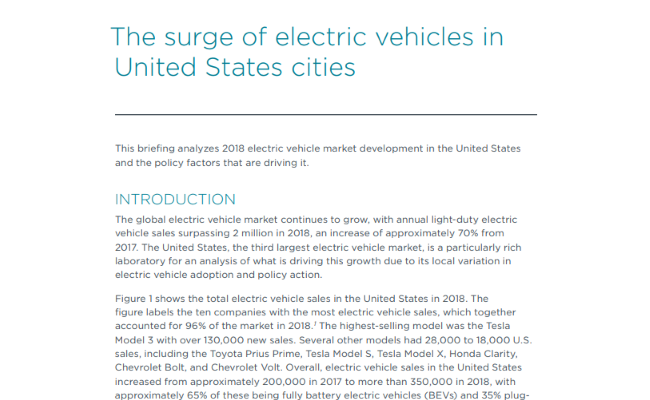 The surge of electric vehicles in United States cities