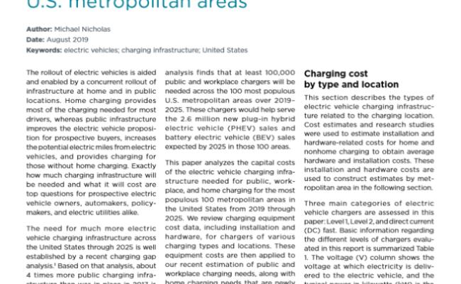 Estimating electric vehicle charging infrastructure costs across major U.S. metropolitan areas