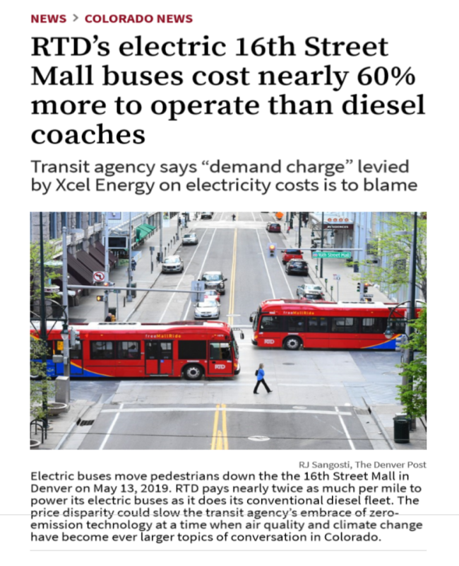 Rtd S Electric 16th Street Mall Buses Cost Nearly 60 More
