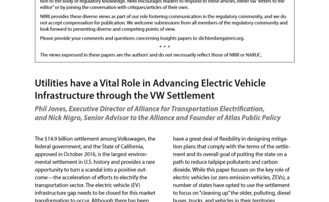 Utilities have a Vital Role in Advancing Electric Vehicle Infrastructure Through the VW Settlement