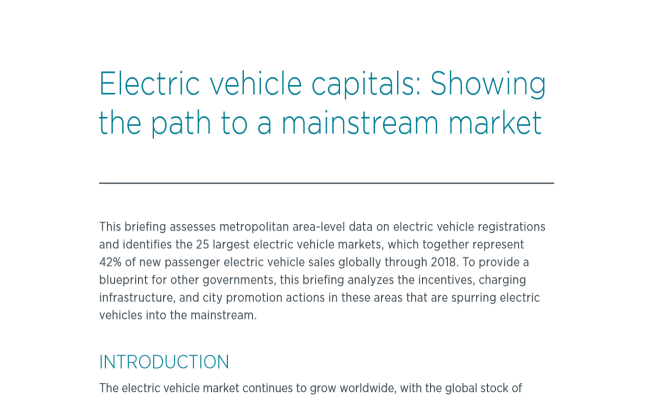Electric vehicle capitals: Showing the path to a mainstream market