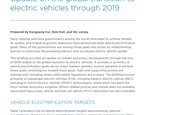 Update on the global transition to electric vehicles through 2019