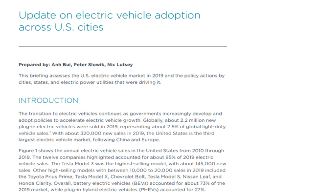 Update on electric vehicle adoption across U.S. cities